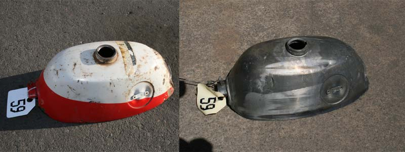 1 honda motorcycle gas tank after acid dipping cleaning