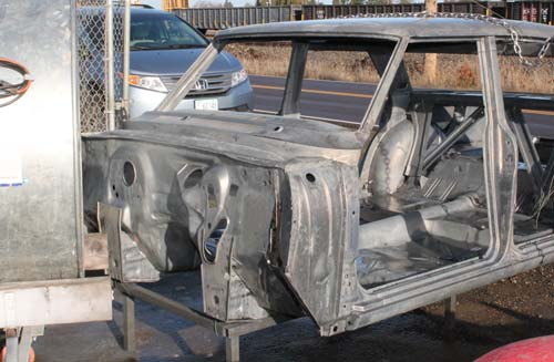 10 63 Chevy Nova air dry after acid dipping metalworks paint removal