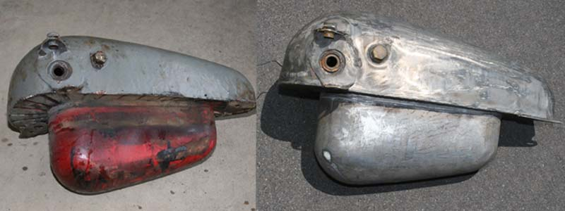 2 Harley motorcycle gas tank after hot tank cleaning