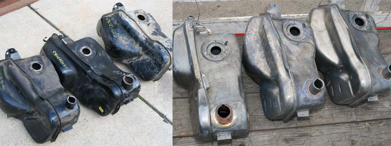 3 BWM motorcycle gas tanks after hot tank and acid dipping cleaning