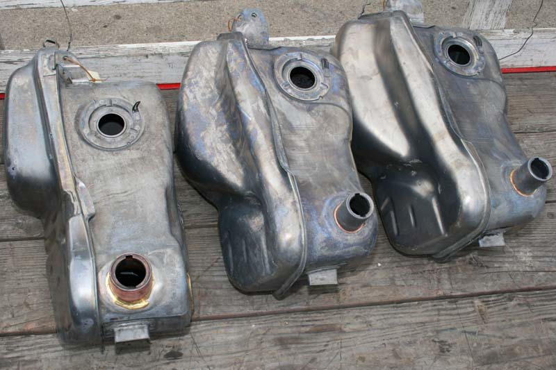5 BWM motorcycle tanks after cleaning hot tank and acid